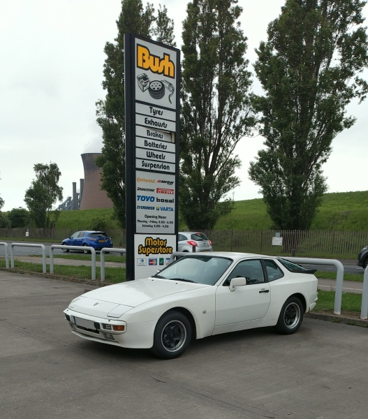 1985 Porsche 944 at Bush Tyres | A Scunthorpe steel works cooling tower in background