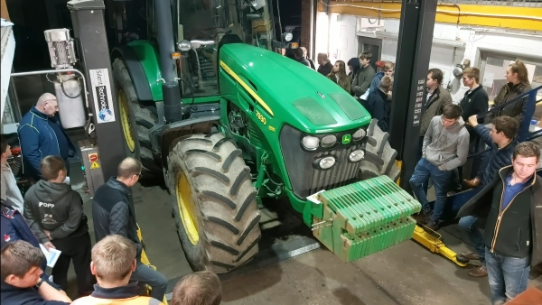 Tractor wheel alignment demonstration for Lincolnshire Young Farmers at Bush Tyres