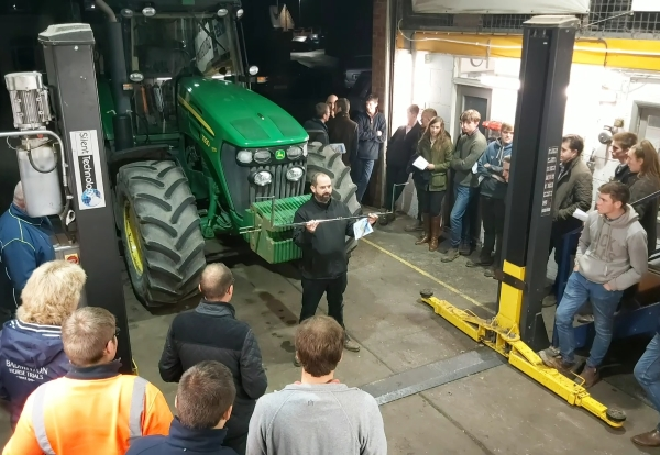 Matt Smith (Bush Tyres) demonstrating a Tractor wheel alignment for Lincolnshire Young Farmers at Bush Tyres Horncastle