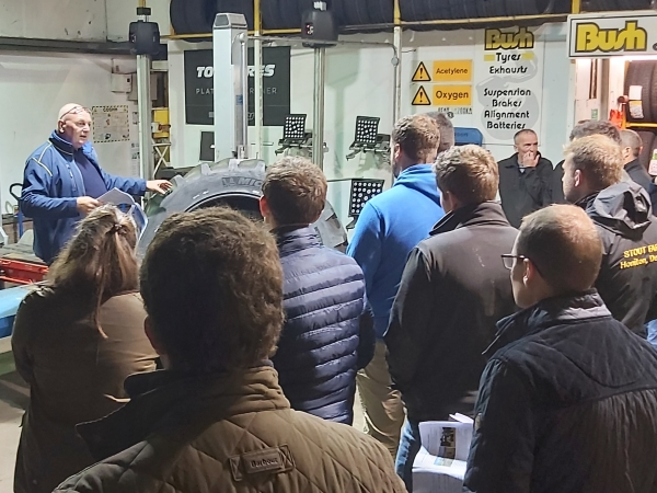 Ian Whitwell (Michelin) giving a talk to Lincolnshire Young Farmers  about all aspects of Agricultural tyres at Bush Tyres