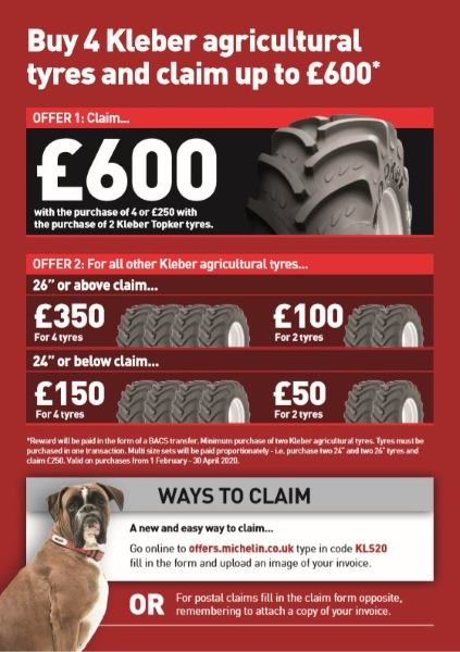 Kleber Agricultural tyres up to £600 cash back deal | Bush Tyres