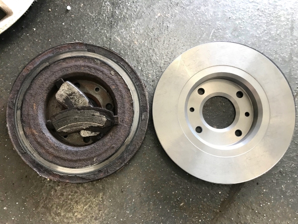 Left - Defective brakes removed from a customers car | Right - A brand new brake disc