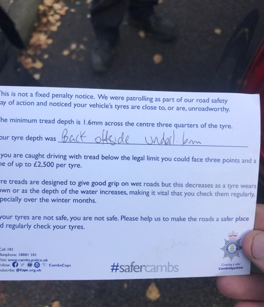 Police Note left for cars with low tread depths found on theur cars