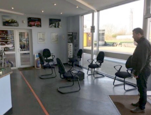 One of our reception areas with chairs placed 2m apart to enable social distancing | Bush Tyres